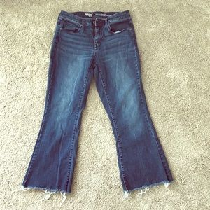 High waisted crop flare jeans
